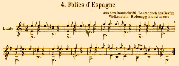 Theme of Follías de España, opening score - 12kB