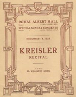 programme of recital 15 November 1925 including La Follia  size 15 kb