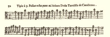 Falconiero, opening of the original score for altro canto, basso (viola) and Basso continuo 23kB