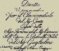 title page of sheet music Conti for the comic opera La Pastorelle Nobile- 15 kB