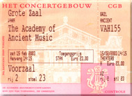 ticket of the concert The Academy of Ancient Music - 15